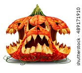 scary halloween pumpkin... | Shutterstock . vector #489171910