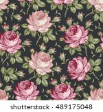 roses. seamless classic pattern.... | Shutterstock .eps vector #489175048