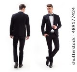 young stylish man in a suit and ... | Shutterstock . vector #489177424