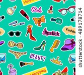 seamless pattern with fashion... | Shutterstock . vector #489178714