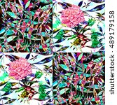 tropical patchwork.flower... | Shutterstock . vector #489179158