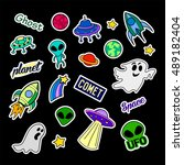 fashion patch badges. ufo set.... | Shutterstock . vector #489182404