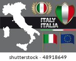 italy contour and flag   Shutterstock .eps vector #48918649