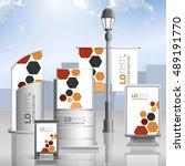 white outdoor advertising... | Shutterstock .eps vector #489191770
