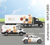 white transport advertising... | Shutterstock .eps vector #489191800