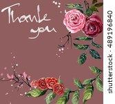 flowers watercolor drawing down ... | Shutterstock . vector #489196840