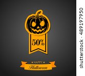 discount with a pumpkin | Shutterstock .eps vector #489197950