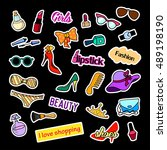 fashion patch badges. fashion... | Shutterstock . vector #489198190