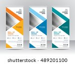 roll up banner stand template... | Shutterstock .eps vector #489201100