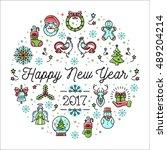 happy new year 2017 design... | Shutterstock .eps vector #489204214