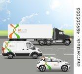 white transport advertising...   Shutterstock .eps vector #489205003
