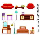 hotel furniture set with sofa...   Shutterstock .eps vector #489206209
