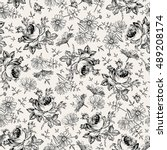 Seamless pattern. Beautiful blooming realistic isolated flowers. Vintage background textile. Chamomile, Rose, wildflowers. Wallpaper baroque. Drawing, engraving. Vector victorian Illustration.