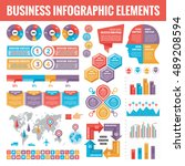 big set of business infographic ... | Shutterstock .eps vector #489208594