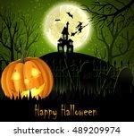 halloween spooky background | Shutterstock .eps vector #489209974