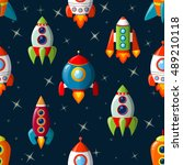 seamless pattern with spaceship | Shutterstock .eps vector #489210118