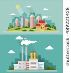 set of flat design. urban... | Shutterstock .eps vector #489221428
