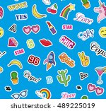 seamless pattern with fashion...   Shutterstock . vector #489225019