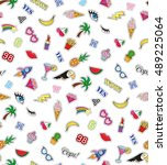 seamless pattern with fashion... | Shutterstock . vector #489225064