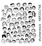 vector faces hand made doodle... | Shutterstock .eps vector #489231748