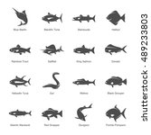 fish vector icon set | Shutterstock .eps vector #489233803