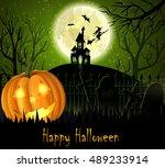 halloween spooky background | Shutterstock .eps vector #489233914