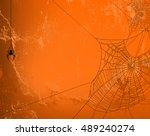 spider web silhouette against... | Shutterstock . vector #489240274