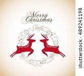 merry christmas animal... | Shutterstock .eps vector #489241198