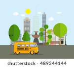 back to school background with... | Shutterstock . vector #489244144