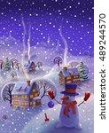 winter landscape  fairy tale... | Shutterstock . vector #489244570