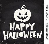 funny vector halloween poster... | Shutterstock .eps vector #489245458