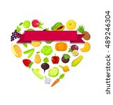 fruits and vegetables set in a... | Shutterstock . vector #489246304