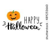 cute halloween invitation or... | Shutterstock .eps vector #489253660