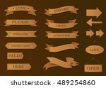 wood ribbon banners set.... | Shutterstock .eps vector #489254860