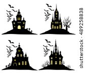 set of halloween castle with... | Shutterstock .eps vector #489258838