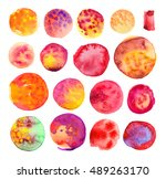 watercolor hand painted circle... | Shutterstock . vector #489263170