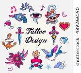 set of color vintage tattoos... | Shutterstock .eps vector #489266590