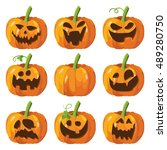 halloween big set with pumpkins.... | Shutterstock .eps vector #489280750