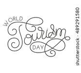world tourism day hand... | Shutterstock .eps vector #489291580