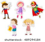 sticker set of girls and boys... | Shutterstock .eps vector #489294184