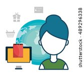 avatar woman with shopping and... | Shutterstock .eps vector #489296338