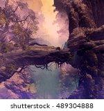 3d illustration of forest... | Shutterstock . vector #489304888