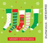 christmas stocking design with... | Shutterstock .eps vector #489304900