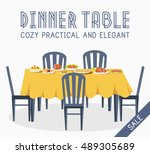 flat vintage dinner table with... | Shutterstock .eps vector #489305689
