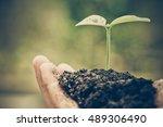 hands of farmer growing and... | Shutterstock . vector #489306490