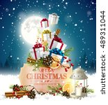 christmas greeting card with... | Shutterstock .eps vector #489311044