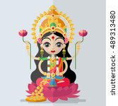 hindu goddess lakshmi    in... | Shutterstock .eps vector #489313480