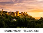 beautiful sunset view of spain... | Shutterstock . vector #489323533