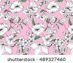spring flower plant pattern | Shutterstock .eps vector #489327460