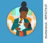 an african american mother... | Shutterstock .eps vector #489327619